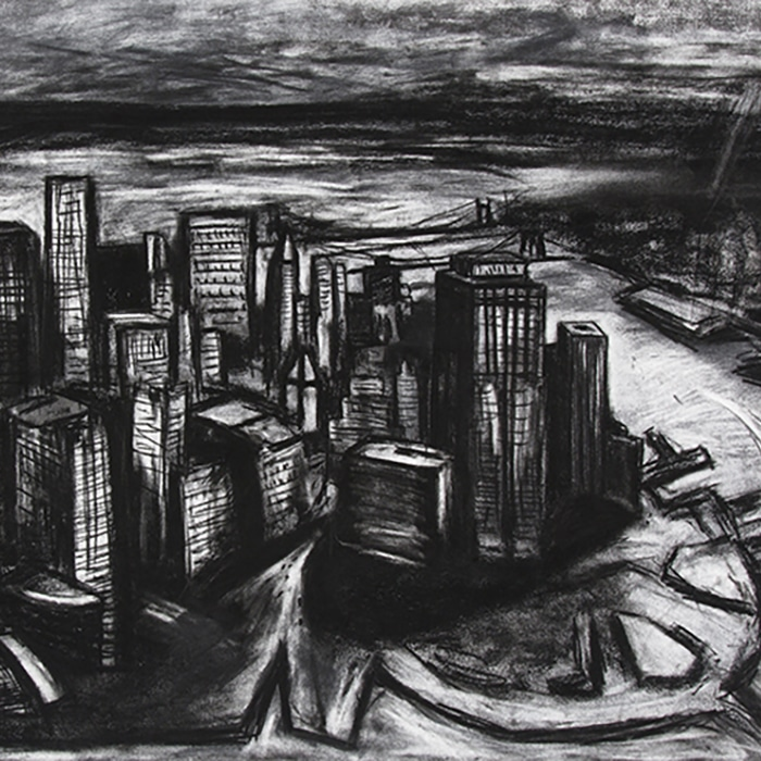 Marco Luccio, New York Mythic 1, 2016, Charcoal On Velin Arches Paper, 75 X 106cm