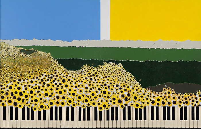 Josef Brunhuber, Sunflower Sonata, acrylic on canvas, 1200 x 2400 mm