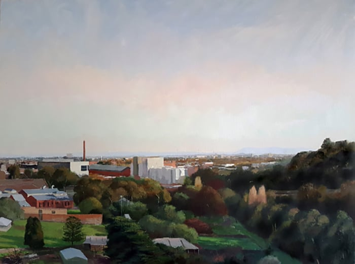 Alexandra Sassé, Abbotsford from Studley Park, 2016, oil on canvas, 65 x 85cm Private Collection