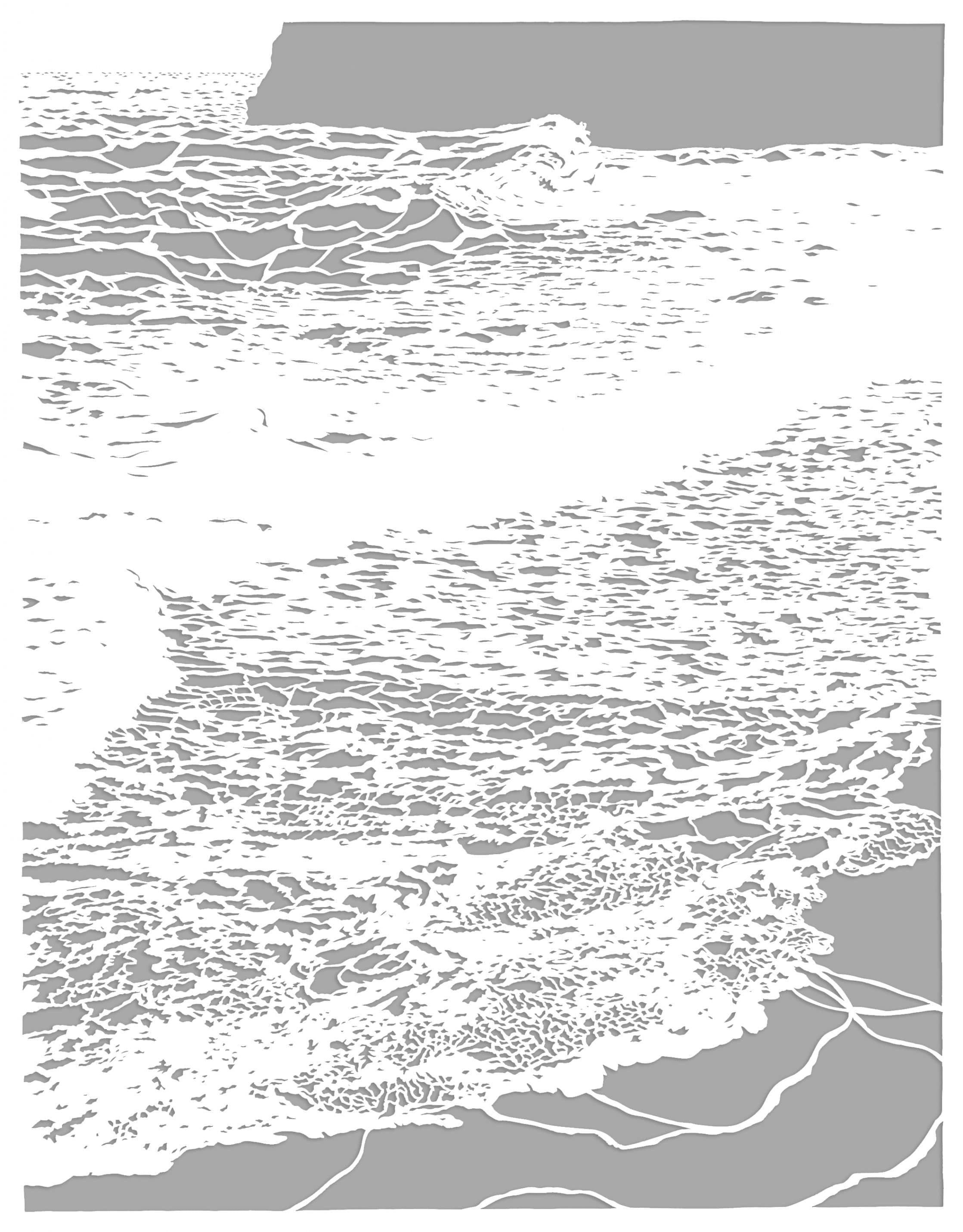 Roma McLaughlin, Incoming Tide, 2020, acid free white Fabriano paper, 120gsm, 111 x 87 cm